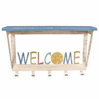 Multicolored Welcome Wall Shelf with Hooks
