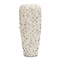Narrow White Abalone Shell Ceramic Vase