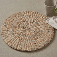 Natural Braided Hyacinth Round Placemat - Set of 4