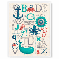 Nautical ABC's Framed Canvas Wall Art - 24 x 30