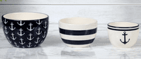 Nautical Anchor Nested Bowls - Set of 3