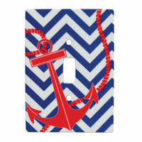 Nautical Chevron Ceramic Switch Plate Cover - CLEARANCE