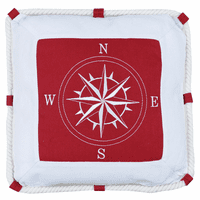 Nautical Compass Red Pillow