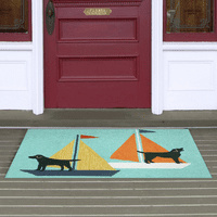 Nautical Dogs Blue Indoor/Outdoor Rug Collection