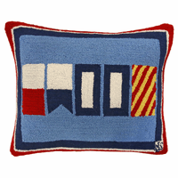 Nautical Happy Hooked Wool Pillow