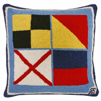 Nautical Love Hooked Wool Pillow