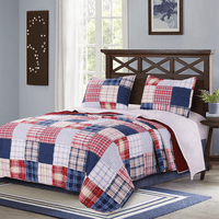 Nautical Plaid 3pc Quilt Set - King