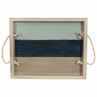 Nautical Slatted Stripe Wood Tray with Rope Handles - 18 Inch