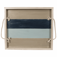 Nautical Slatted Stripe Wood Tray with Rope Handles - 20 Inch