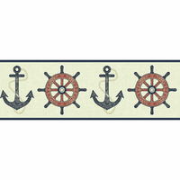 Nautical Spot Wallpaper Border - Red and Blue