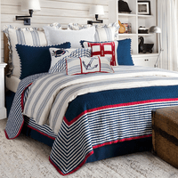 Nautical Stripes 3 Piece Quilt Set - Full/Queen