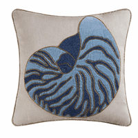 Nautilus Shell Beaded Embroidered Pillow