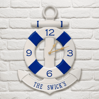 Navy and Blue Personalized Anchor Clock