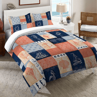 Navy and Coral Blocks Bedding Collection