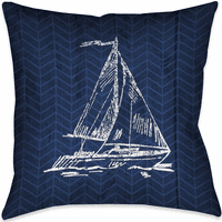 Navy and Coral Blocks Sailboat Pillow