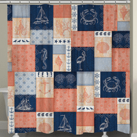 Navy and Coral Blocks Shower Curtain