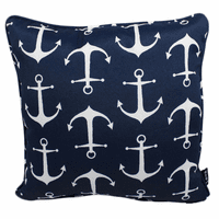 Navy and White Anchors Indoor/Outdoor Pillow - 17 x 17