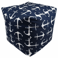 Navy and White Anchors Indoor/Outdoor Square Pouf