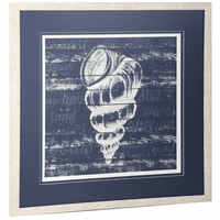 Navy and White Shell Framed Wall Art