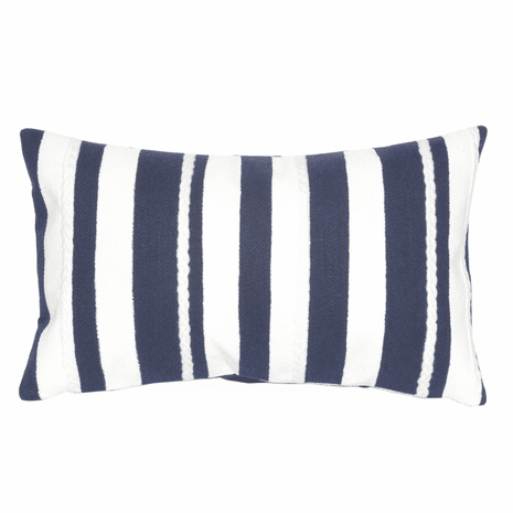 Navy and White Stripes Indoor/Outdoor Pillow - 12 x 20