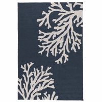 Navy Beach Coral Indoor/Outdoor Rug - 9 x 12