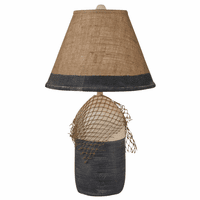 Navy Buoy & Net Table Lamp with Burlap Shade