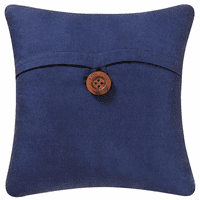 Navy Button Feather Down Accent Pillow
