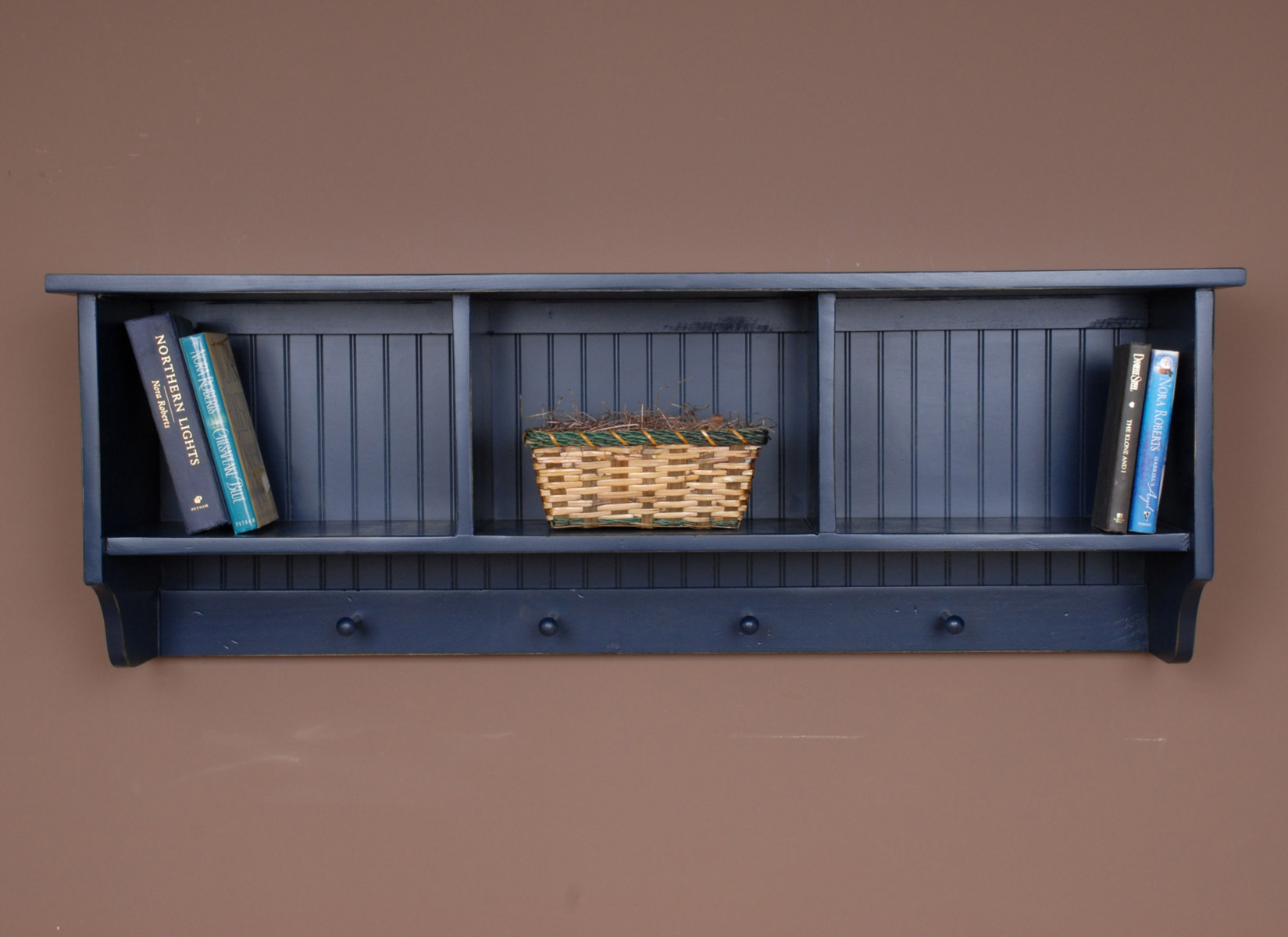 Beach Style Furniture Navy Cubby Wall Shelf Bella Coastal