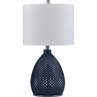 Navy Deco Glass Table Lamp