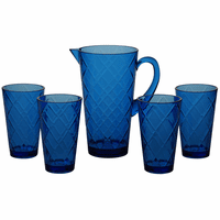 Navy Lattice Acrylic Glassware