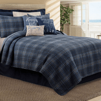 Navy Plaid Quilt Set - Twin