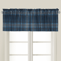 Navy Plaid Valance