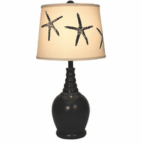 Navy Ribbed Neck Accent Lamp with Starfish Shade