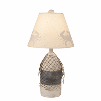 Navy Small Buoy & Net Table Lamp with Crab Shade