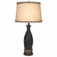Navy Table Lamp with Rope Accents