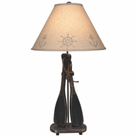 Navy Two-Paddles Table Lamp
