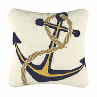 Navy & Yellow Anchor Hooked Pillow