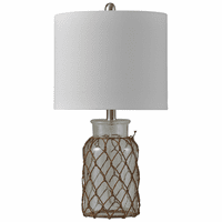 Netted Clear Seeded Glass Table Lamp