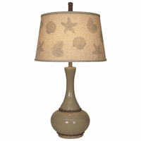 Neutral Rope Table Lamp with Shell Shade