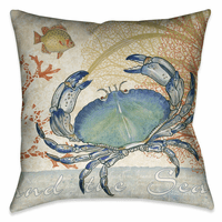 Ocean Crab 18 x 18 Outdoor Pillow