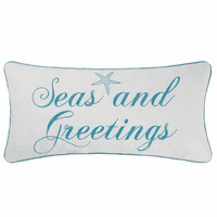 Ocean Greetings Embroidered Pillow