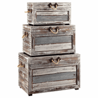 Ocean Treasure Wood Trunks - Set of 3
