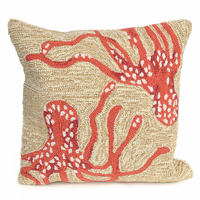 Octopus Duo Coral Indoor/Outdoor Pillow
