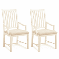 Off White Mission Arm Chairs - Set of 2