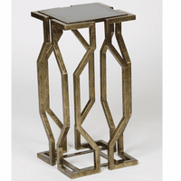 Open Geometric Accent Table - Antique Brass