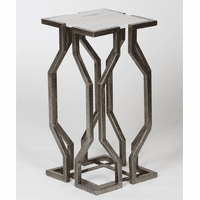 Open Geometric Accent Table - Antique Pewter