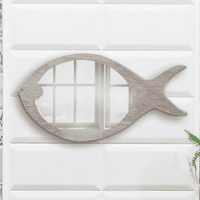 Oval Fish Wood Wall Mirror