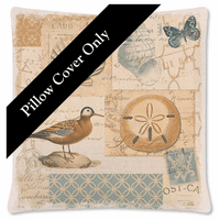 Overseas Post Card Square Pillow Cover