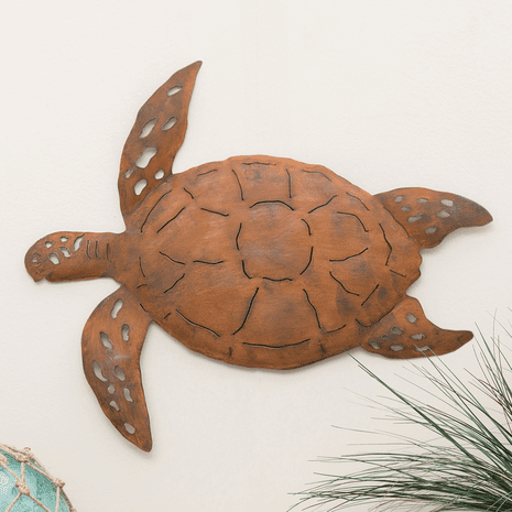 Oxidized Metal Sea Turtle Wall Art - Large