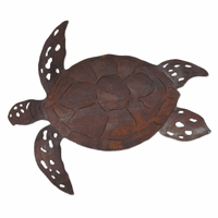 Oxidized Metal Sea Turtle Wall Art - Small